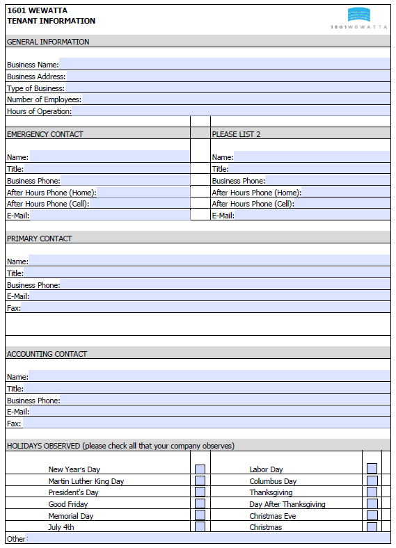 1601 Wewatta Sample of Tenant Contact Information Sheet – Sample Contact Sheet